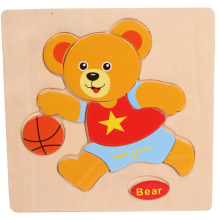 New Cartoon Wooden Bear Puzzle Educational Developmental Baby Kids Training Toy Jigsaw Board Houten Speelgoed Lowest price