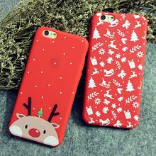 Phone Case for iPhone 6 6S 6plus 6Splus 7 7plus Cute Red Christmas Elk and Socks Trojan Snowflakes Silicone Soft TPU Phone Shell