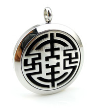 Round Silver China  Element Design (30mm) Essential Oils Diffuser Locket Aroma Free Pads Stainless Steel Diffuser Locket