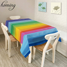 Homing Rectangle Recycling Decoration Dinning Table Cloth Rainbow Color Striped Polyester Oil-proof Coffee Table Covers Decor