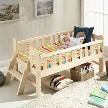 Solid Wood Children Bed Multifunctional Widen Child Kids Wooden Bed Durable Pine Wood Guardrail Bed With Ladder(China)
