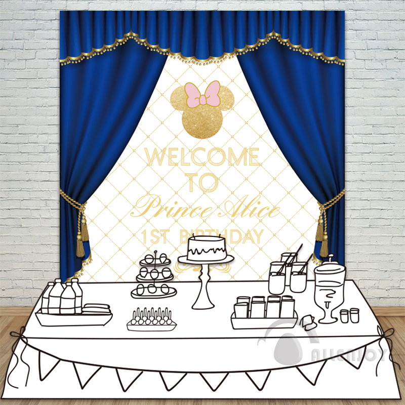 Allenjoy Girl Birthday Backdrop Baby Shower 1st Invitation celebration Party Blue Curtain Bow table Banner photocall Background<br>