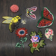 7Pcs Butterfly Bee Sunflower Applique Patches Embroidery Fabric Applique DIY T-shirt Handbag Decoration Sewing Accessories