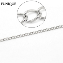 FUNIQUE Necklace Jewelry 10M Silver Tone Stainless Steel Soldered Curb Link Chains Material Maxi Necklace For DIY 3.5x2.5mm(China)