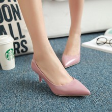 Summer new light pink high heels Fine with single pumps wild Occupational pointed pumps Low heeled patent leather Female Shoes