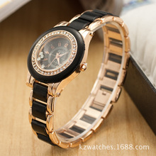 Hot Sale Rose Gold Imitate Ceramic Luxury Crystal Faux Diamond Bangle Bracelet Wristwatches Watch for Women Ladies Female OP001