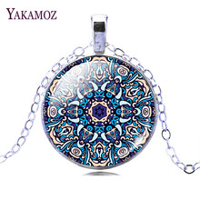 2017 Fashion Jewelry Mandala Flower of Life Cabochon Glass Silver Color Pendant Necklace for Women Party(China)