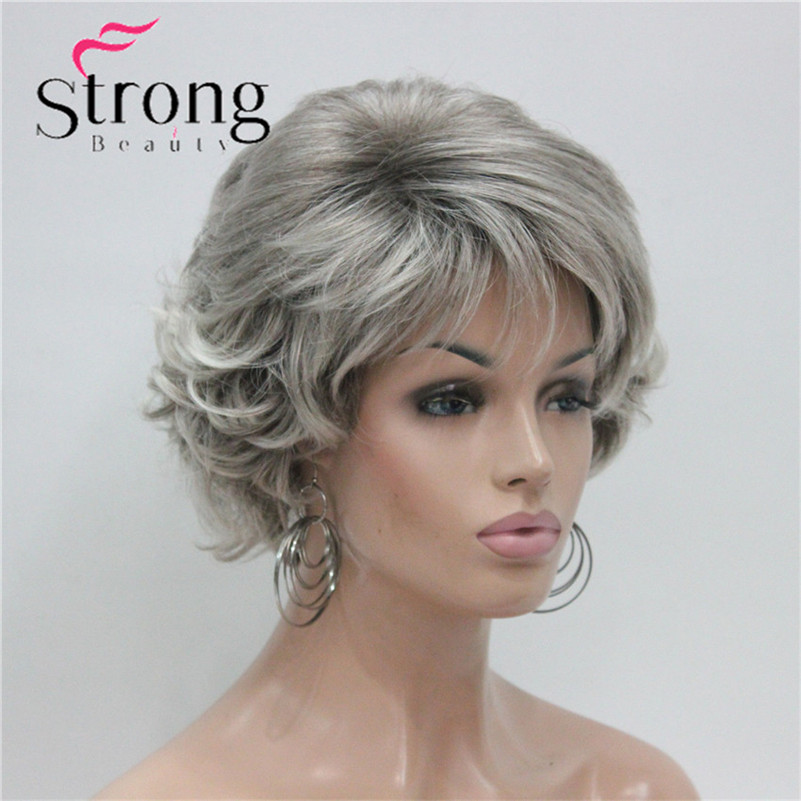 E-7125 #48T New Short Wig Wavy Curly Grey Mix Brown Women's Synthetic Hair Full Wig Thick (6)