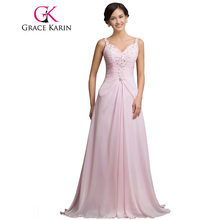 Grace Karin Long Pink Prom Dress Under 50 V Neck Beading Sequin Spaghetti Strap Formal Evening Gowns Special Occasion Dress 2017(China)
