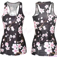 Peach Blossom Yoga Shirts Pink Women Running Singlet Black Sport Camis Ladies Amazing 3d Flowers Sports Tank Tops Slim-Fitting