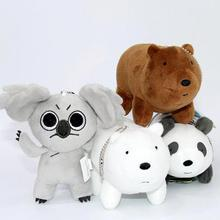 1pc 12cm We Bare Bears Popular Cartoon Grizzly Ice Bear Panda Plush Soft Doll Animal Stuffed Pendant For Baby Kids Birthday Gift