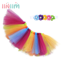 NEW Infant Baby Girls Lovely Rainbow Tulle Tutu Skirt with Flower Headband Costume Photography Props Outfit SZ 0-6 Months
