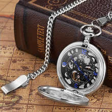 OYW Brand Hand Winding Mechanical Silver black Pocket Watch Men Vintage Skeleton Dial necklace pendant Male Chain Watches Gifts