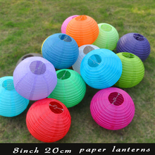 10 Pieces 20 Colors 8 Inch 20cm Round Chinese Paper Lanterns For Wedding Party Decoration