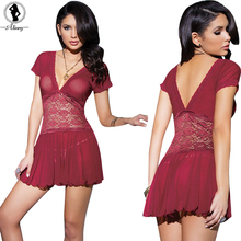 2017 New Sexy lingerie hot women Red wine lace deep v-neck short sleeves halter sexy chemise porn erotic lingerie sexy costumes