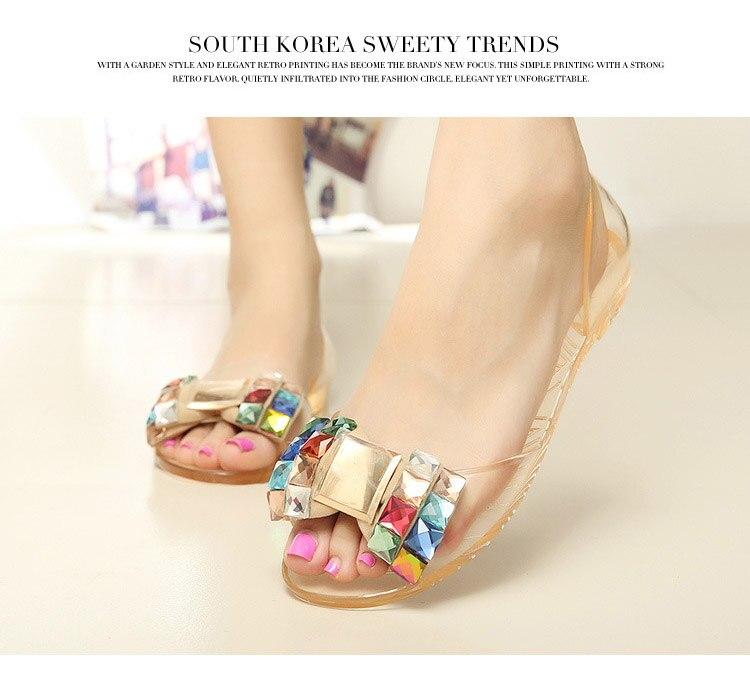 a45b4296a6c5 Quanzixuan Women Shoes Summer Bowtie Jelly Shoes Transparent Women Sandals  Flat
