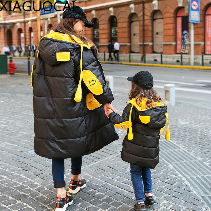 Winter Family Matching Outfits Mother daughter Parkas Hooded Cotton Jacket Long Coat thickening Warm Girl Outwear Clothes B69 10<br>
