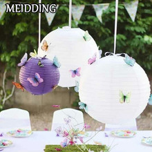 MEIDDING-10pcs/set 6-14inch Round Chinese Lantern white Color Paper Lanterns for Wedding/anniverasry Party Decoration wholesale