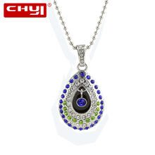 CHYI Jewellery Necklace USB Flash Drive Pen Drive Beautiful Water Drop Angel's Eye Memory Stick 4/8/16/32/64GB Pendrive For Gift(China)