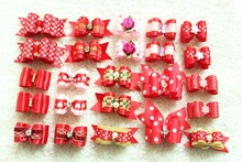 10pcs/lot Hand-made Small Dog Hair Bows Rubber Band Cat Hair Clips Boutique Valentine's day Pet Dog Grooming Accessories Product(China)