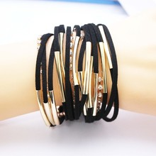 Women New Hot Hand Woven Multi-layer Leather Bracelet Fashion Male Personality Punk Bracelet(China)