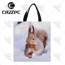 Cute Lovely Fat Squirrel animal On The Snow Print Custom individual waterproof Nylon Fabric shopping bag gift bag Pack of 2
