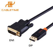 Cabletime Display Port to DVI Cable Male to Male DisplayPort DP to DVI Connection Adapter 1080P 3D for HDTV PC Projector N080(China)