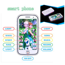 English language musical cartoon smart phone learning machine with flash light,educational&learning plastic phone let it go song