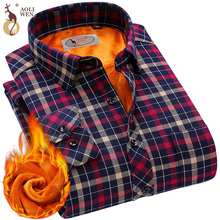 2017 Fashion Men's Winter Warm Plush Slim Shirts 24 Colors Striped Plaid Print Blouse For Men Casual Retro Clothes Size M-5Xl(China)