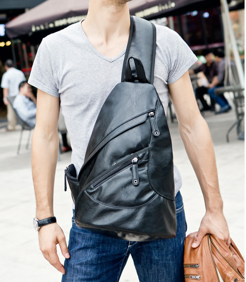 Top Quality PU Leather Messenger Bag Sling Chest Day Pack Travel Trend Riding Laptop Single Shoulder Back pack Cross Body Bags<br><br>Aliexpress