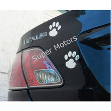 5 Pairs 3D Chrome Car Sticker Dog Cat Paw Bear Foot Prints For Kids Bedroom Window Door Window Laptop Fridge Motorcycle Decal