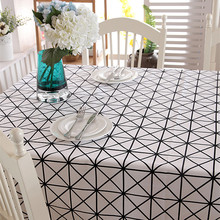 Cotton thick table cloth canvas simple black and white table cloth geometric triangular table cloth(China)