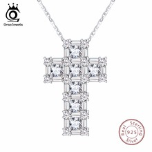 ORSA JEWELS 100% Real Sterling Silver Pendant & Necklace For Women AAA CZ Prong Setting Cross Shape Male Fine 925 Jewelry SN65(China)