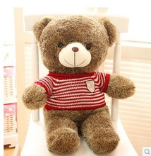 Stuffed animal Teddy bear red stripes cloth bear about 23 inch plush toy 60 cm bear throw pillow doll wb525(China)