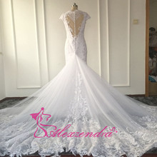 New Mermaid Lace Wedding Dresses with Detachable Train Unique Back Fish Tail Sexy Wedding Dresses BAF1508