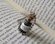 12pcs/lot Hemlock Bottle Necklace Poison Charm Toxic Toxin Necklace silver tone