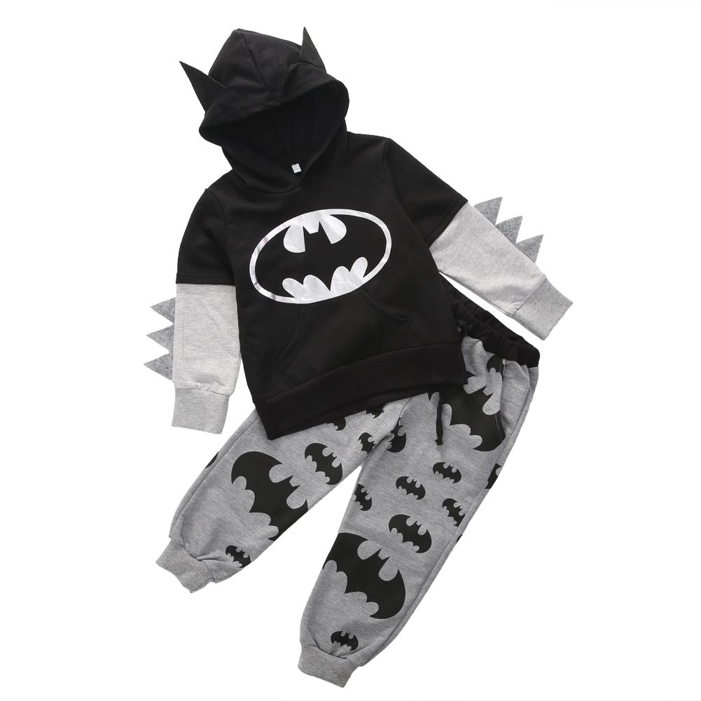 Fashion Children Clothing 2017 Outfits Baby Boy Cartoon Batman Tops Hooded Sweatshirt Hoodies+Pants Clothes<br><br>Aliexpress