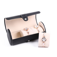 PU cortex watch storage box/3 Grids Portable Clamshell type Bead velvet storage supplies friends' gift(China)