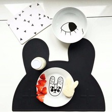 2017 INS Silicone Portable Placemat Lovely Bear / Bunny Kids Baby Silicone Placemat Heat Resistant Tableware Mat Table Decor Set(China)