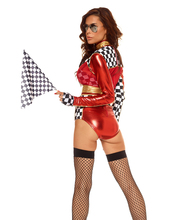 5pcs Sexy Car Racing Costume Women Black And Red High Waist Long Sleeve Sexy Racing Girl Suit Top+Bra+Shorts+Belt+Stocking
