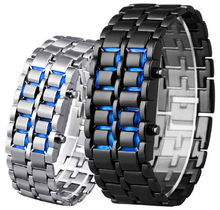 Classic Sport Fashion Men Women Lava Iron Samurai Metal Blue Red LED Faceless Bracelet Watch Stainless Watches for Women(China)