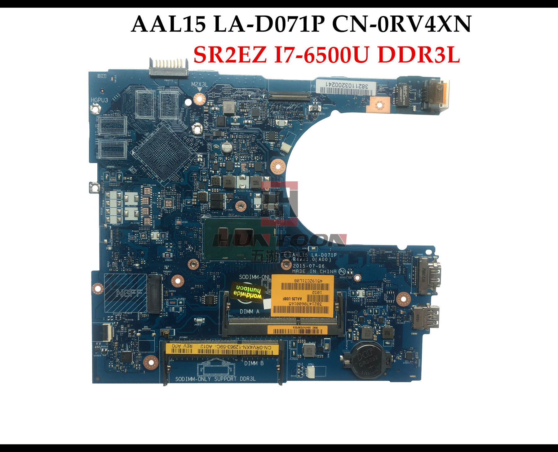 NEW GENUINE Dell Inspiron 5559 Laptop Motherboard Intel i7-6500U LA-D071P RV4XN