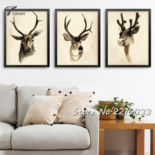 Large Elk Canvas Art Old Painting Calligraphy Abstract Decorative Wall Pictures For Living Room Drawing House Panel No Frame New