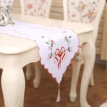 New For Christmas Polyester Embroidery Xmas Table Runner Satin Tablecloth Cutwork by Hand Red Table Flag Towel Cloth Covers(China)