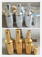 50pcs Gold Silver 100ml Spray bottle Cosmetic packaging Empty Perfume Bottle,Glass bottles,perfume container Refillable Bottles(China)