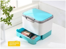 Creative Multifunctional Storage Box Portable Cosmetic Organizer With Mirror Plastic Home Medicine Chest Free Shipping(China)
