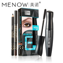 M.n Menow Brand Women Facial Cosmetic Curl Mascara with Silicone Brush Head + Double Color Eyeliner Pen  500Set/Lot via DHL(China)