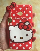 For HTC One M7 Original Lovely 3D Hello kitty Cartoon cat Cute heart pendant lady soft Rubber silicone phone case cover for M7