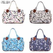 MISS LULU Women Shoulder Handbags Matte Oilcloth Top-handle Bags Bird Flower Print Shopper Tote Market Day Hand Bag YD1105
