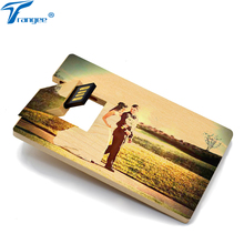 Trangee Wood Credit Card USB flash drive 4GB 8GB 16GB 32GB USB 2.0 Pendrive Wedding Photo/Picture Color Printing gifts Pen Drive(China)